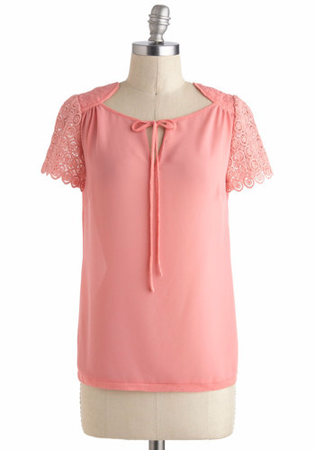Pretty As Can Be Top - Sheer, Mid-length, Coral, Solid, Crochet, Work, Short Sleeves