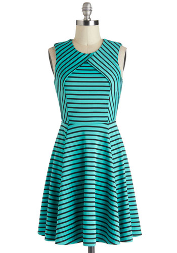 Ambient Turquoise Dress - Stripes, Short, Blue, Black, Casual, A-line, Sleeveless, Crew, Nautical, Fit & Flare