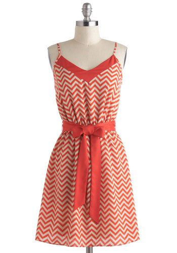 Jagged Little Thrill Dress - Mid-length, Red, White, Chevron, Belted, Casual, A-line, Spaghetti Straps, V Neck, Sundress