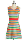 Morning At The Market Dress - Multi, Stripes, Knitted, Casual, A-line, Sleeveless, Mid-length, Summer
