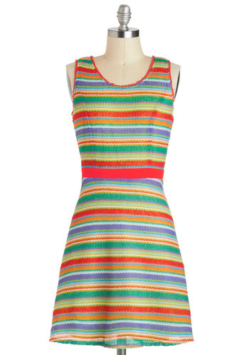 Morning At The Market Dress - Multi, Stripes, Knitted, Casual, A-line, Sleeveless, Mid-length, Summer, Top Rated