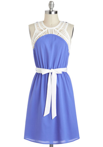 Cupcake Tasting Dress - Mid-length, Purple, White, Belted, Casual, A-line, Sleeveless, Crew, Cutout, Summer