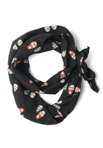 Guise and Dolls Scarf - Black, Red, Green, White, Novelty Print