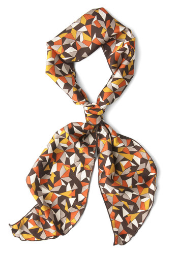 Polygon with the Wind Scarf - Brown, Multi, Print, Casual, Vintage Inspired, 70s, 60s, Winter