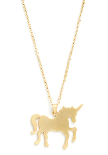 Myth You Were Here Necklace - Gold, Print with Animals, Quirky
