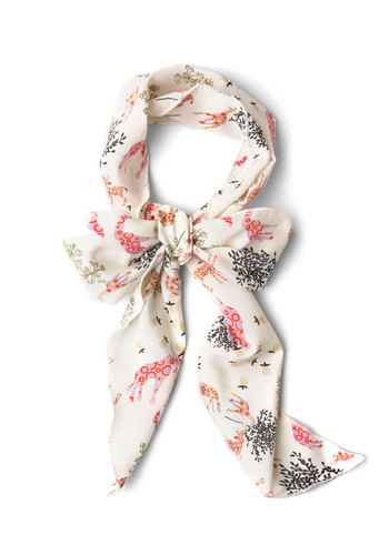 Fauna Roll Scarf - Cream, Multi, Print with Animals, Casual