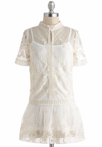 Modern Day Maker Top - Cream, Solid, Lace, Daytime Party, Vintage Inspired, 30s, 40s, Peplum, Short Sleeves, French / Victorian, Sheer, Work, Long