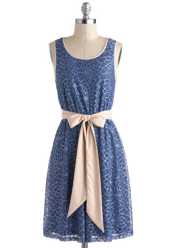 Slate of the Union Dress - Mid-length, Blue, Tan / Cream, Solid, Backless, Lace, Belted, Daytime Party, A-line, Tank top (2 thick straps), Scoop, Spring