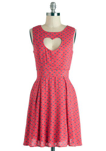 Heart And Center Dress - Mid-length, Pink, Multi, Floral, Cutout, Pleats, Casual, A-line, Sleeveless, Boat, Summer