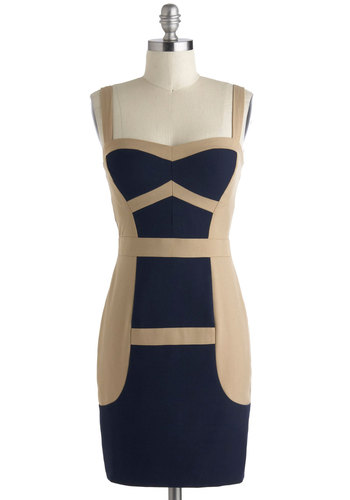 Climb and Again Dress - Short, Blue, Tan / Cream, Girls Night Out, Colorblocking, Bodycon / Bandage, Sleeveless