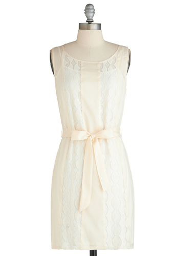 Think Out Cloud Dress - Sheer, Short, White, Solid, Lace, Belted, Tank top (2 thick straps), Daytime Party, Sheath / Shift, Exclusives, Graduation, Spring, Wedding, Bride