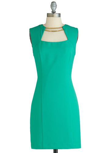 Always Accessorized Dress - Mid-length, Green, Solid, Cutout, Party, Sheath / Shift, Sleeveless, Exclusives