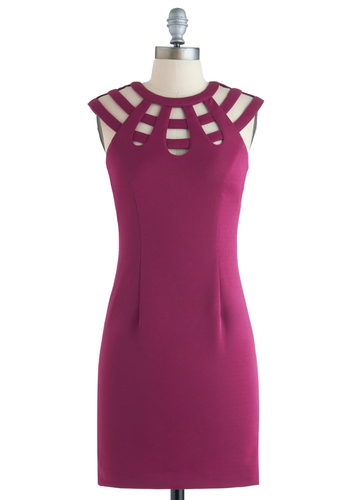 Posh Prospect Dress - Mid-length, Pink, Solid, Cutout, Party, Shift, Sleeveless, Exclusives