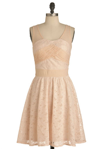 Pale Pink Posies Dress - Mid-length, Pink, Solid, Lace, Party, A-line, Tank top (2 thick straps), Pastel, Cocktail, Sheer, Wedding, Graduation, Scoop, Bridesmaid, Bride