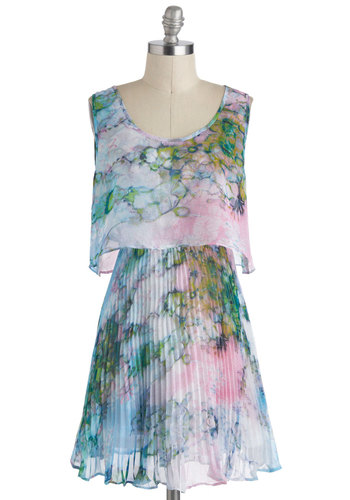 Paintbrush Perennial Dress - Floral, Pleats, Mid-length, Multi, Blue, Pink, Sleeveless, Green, Daytime Party, A-line, Spring, Graduation, Tie Dye, Summer