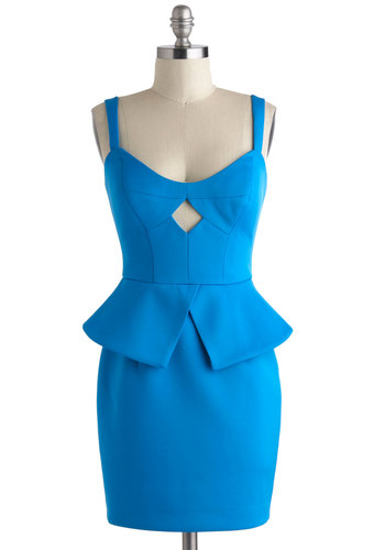 Meet the Jet Setters Dress - Blue, Solid, Cutout, Party, Peplum, Tank top (2 thick straps), Short, Girls Night Out, Vintage Inspired, 80s, Statement