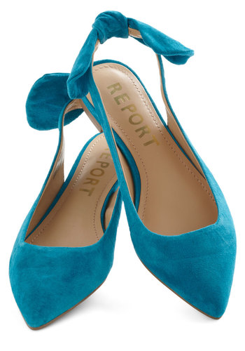 A Bright to See Flat in Aqua - Flat, Leather, Blue, Solid, Bows, Slingback, Wedding, Party, Work, Daytime Party, Vintage Inspired