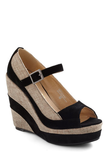Mixed Materials Girl Wedge - Stripes, Wedge, Peep Toe, High, Colorblocking, Tan / Cream, Black, Party, Girls Night Out