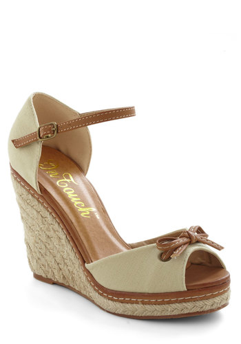 Style in Your Wake Wedge - Cream, Brown, Solid, Bows, Wedge, Peep Toe, High, Braided, Daytime Party, Beach/Resort, Nautical, Scholastic/Collegiate, Spring, Summer, Graduation