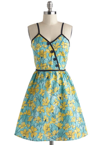 Blossom Buddies Dress - Floral, Cotton, Mid-length, Blue, Yellow, Black, Buttons, Daytime Party, Fit & Flare, Spaghetti Straps, V Neck, Vintage Inspired, 60s, Summer