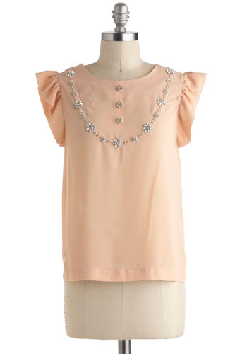 Estate Sale of Mind Top - Mid-length, Orange, Solid, Rhinestones, Work, Daytime Party, Vintage Inspired, Pastel, Cap Sleeves, Spring
