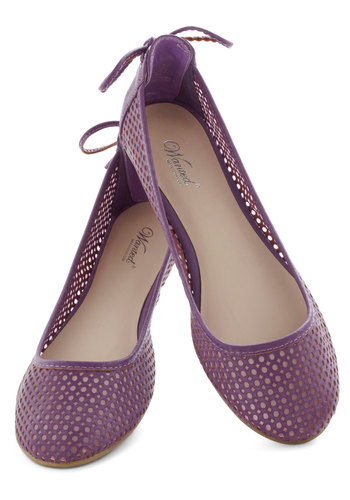 Lilac Season Flat - Purple, Solid, Cutout, Lace Up, Flat, Faux Leather