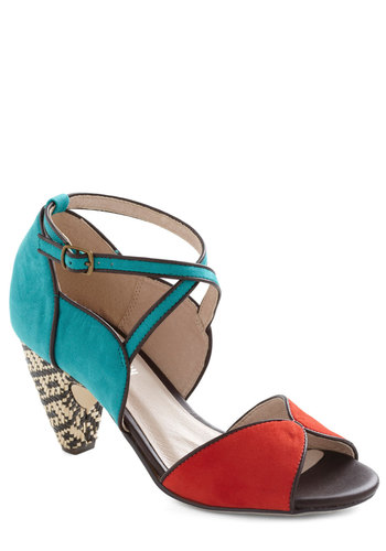 Eclectic Company Heel by Chelsea Crew - Mid, Leather, Multi, Trim, Woven, Peep Toe, Party, Vintage Inspired, Statement