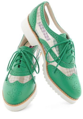 Fore! Shoe - Green, White, Solid, Houndstooth, Menswear Inspired, Lace Up, Low, Leather, Quirky