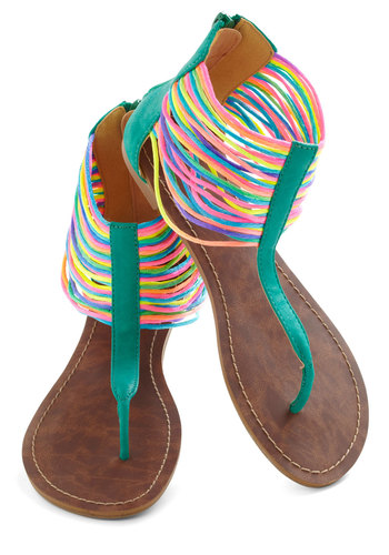 Neon the Shore Sandal - Green, Multi, Solid, Flat, Beach/Resort, Neon, Boho, Summer