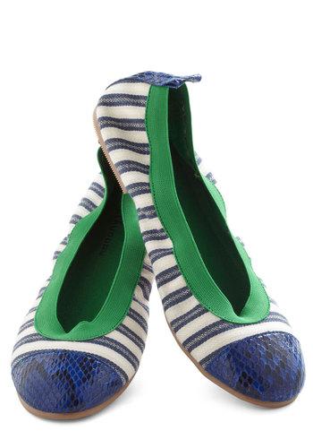 Stretch of Time Flat - Blue, Green, Stripes, Flat, Nautical, Tan / Cream, Casual