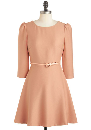 Apricot Your Attention Dress - Orange, Solid, Belted, A-line, 3/4 Sleeve, Fall, Short, Daytime Party, Pastel