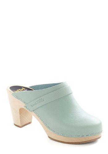 Alps and About Heel by Swedish Hasbeens - Solid, Mid, Chunky heel, International Designer, Leather, Vintage Inspired, 70s, Mint, Pastel, Eco-Friendly
