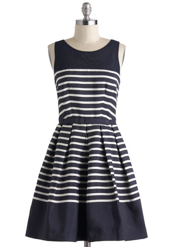 Family Portrait Dress - Blue, White, Stripes, Belted, Party, Nautical, Sleeveless, Spring, Fit & Flare, Mid-length, Bows, Exposed zipper, Pockets, Wedding