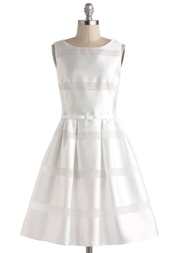 Dinner Party Darling Dress in White - White, Solid, Wedding, Cocktail, Vintage Inspired, 50s, Fit & Flare, Sleeveless, Spring, Sheer, Mid-length, Bows, Buttons, Pleats, Graduation, Variation, Bride, Prom