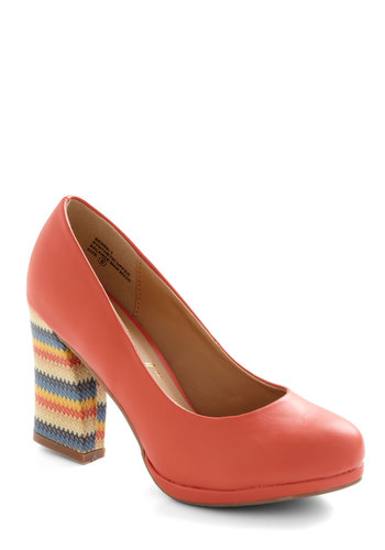 Life of the Private Party Heel - Coral, Multi, Print, Platform, Chunky heel, Mid, Party, 70s