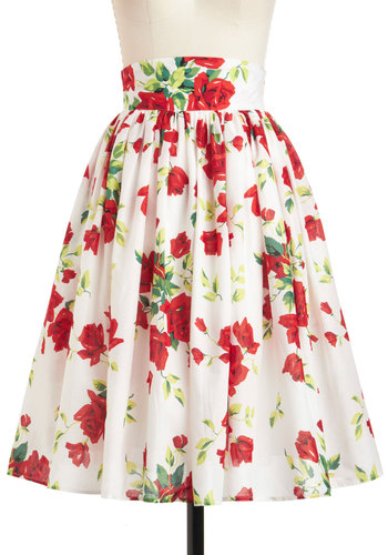 Glad Romance Skirt - White, Red, Yellow, Green, Floral, Daytime Party, A-line, Cotton, Long, Vintage Inspired, 40s, 50s, Spring, Graduation