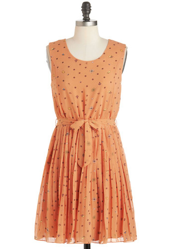 The Squid and the Sail Dress - Chiffon, Mid-length, Orange, Multi, Print, Belted, Casual, A-line, Sleeveless, Scoop, Novelty Print, Pleats, Nautical, Summer
