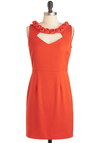 Rosette on You Dress - Solid, Cutout, Flower, Short, Red, Sheath / Shift, Sleeveless, Party