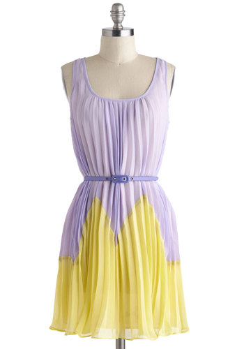 Party with Your Peeps Dress - Mid-length, Purple, Yellow, Pleats, Belted, Sleeveless, Scoop, Daytime Party, Pastel, Colorblocking, Spring, Sheer