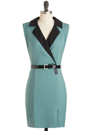 Power Playwright Dress - Blue, Black, Solid, Belted, Work, Sleeveless, V Neck, Collared, Mid-length, Sheath / Shift, 60s