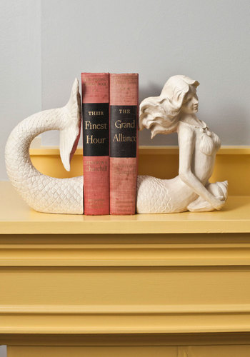 Mermaid for Each Other Bookends - Cream, Nautical, Vintage Inspired, Dorm Decor, Better, Top Rated