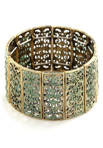 Ornamental Connection Bracelet - Mint, Gold, Solid, Cutout, Party, Casual, Vintage Inspired, Pastel, Bridesmaid, Boho