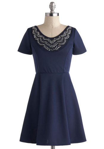 Official Party Planner Dress - Blue, Solid, Party, A-line, Short Sleeves, Short, Beads, Rhinestones