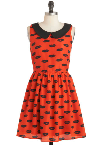 First Kiss Dress - Mid-length, Red, Black, Print, Peter Pan Collar, Casual, A-line, Sleeveless, Collared, Novelty Print, Quirky, Valentine's
