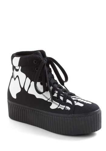 Anatomy of Your Outfit Flatform by Jeffrey Campbell - Black, White, Rockabilly, Wedge, Lace Up, Low, Novelty Print, Casual, Quirky