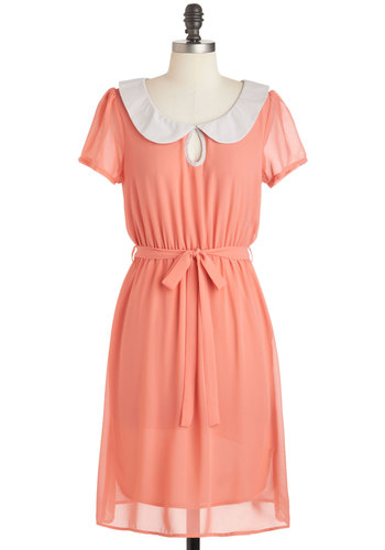 Behold The Coral Dress - Mid-length, Coral, White, Solid, Buttons, Peter Pan Collar, Belted, Casual, A-line, Short Sleeves, Collared, Vintage Inspired, 60s, Pastel