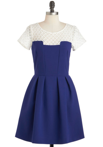 Mind Over Manor Dress - Mid-length, Blue, White, Crochet, Exposed zipper, Pleats, Pockets, Daytime Party, Fit & Flare, Short Sleeves, Scoop, Vintage Inspired, 50s, Sheer