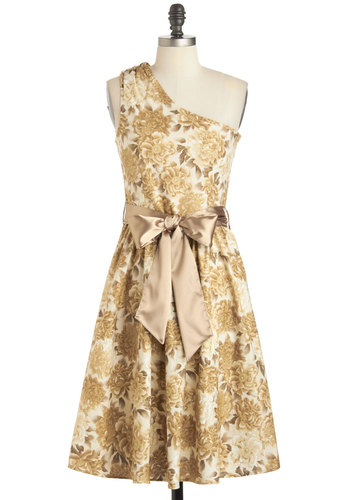 Rococo's Modern Life Dress - Floral, Cotton, Long, Gold, Tan / Cream, Belted, Cocktail, A-line, One Shoulder, Graduation