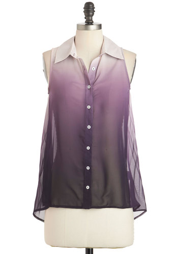 Lilac Festival Top - Sheer, Purple, White, Ombre, Buttons, Sleeveless, Collared, Pleats, Casual, Daytime Party, Vintage Inspired, 70s, Tent / Trapeze, Button Down, Summer, Mid-length