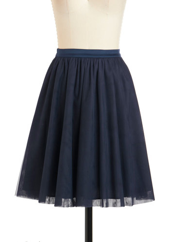 Heart and Pas Seul Skirt in Navy - Mid-length, Blue, Solid, Work, A-line, Casual, Variation